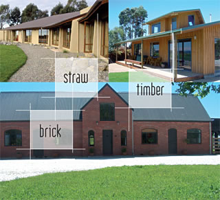 A collage of beautiful, energy efficient homes created by the Little Pig Building company, Nelson, New Zealand