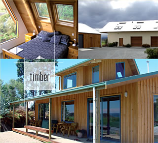 A collage of beautiful, energy efficient timber homes created by the Little Pig Building company, Nelson, New Zealand